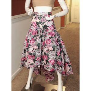 """High low, high waisted floral skirt """"Dillard's"""""""